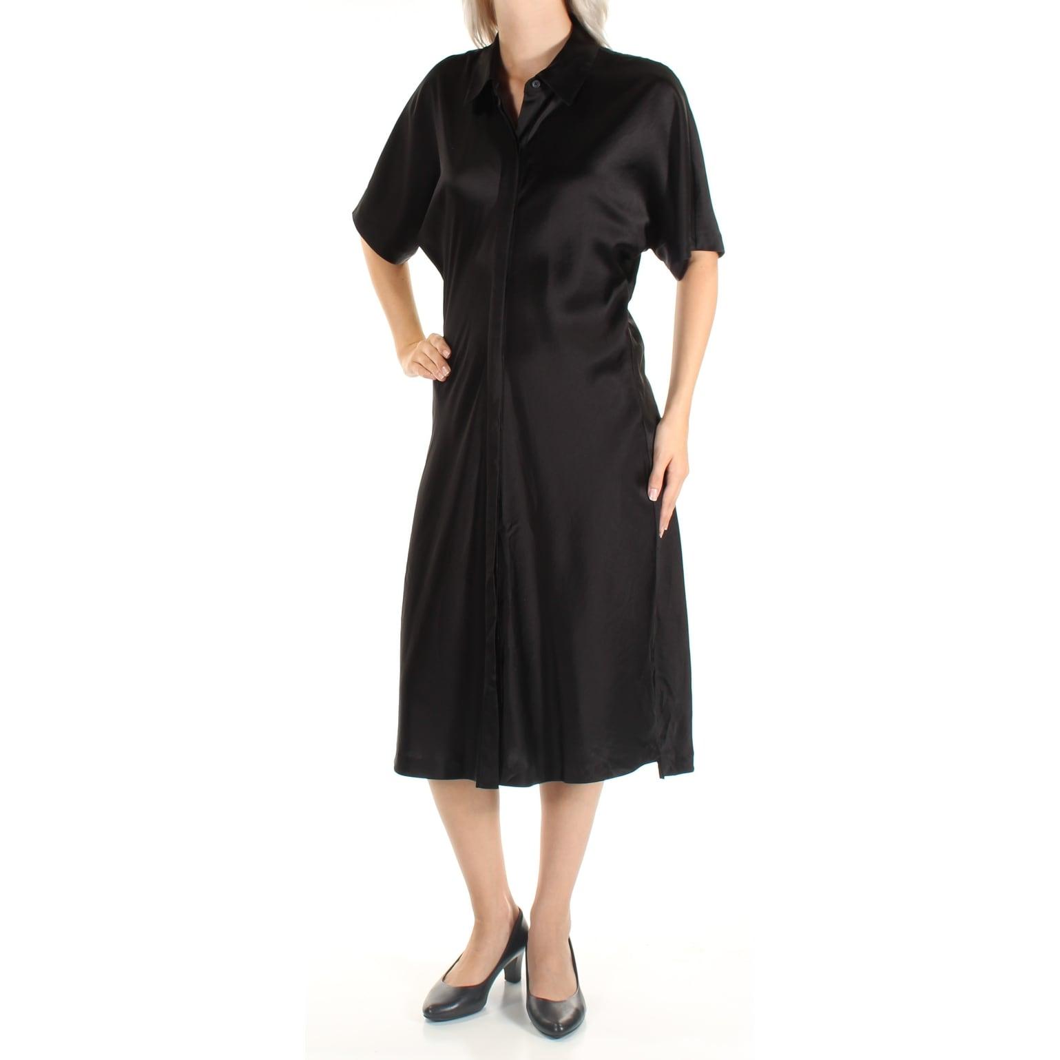 Shop Womens Black Short Sleeve Below The Knee Shirt Dress Size S