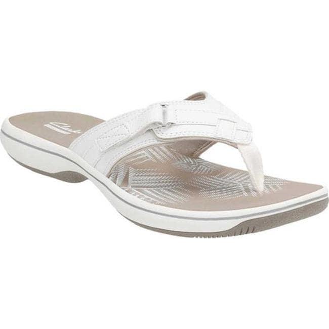 e9e03e026 Shop Clarks Women s Breeze Sea Flip Flop White Synthetic - On Sale ...