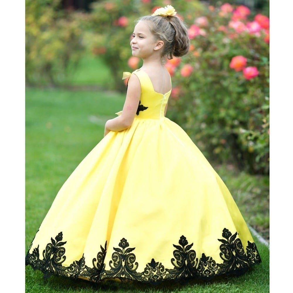 Shop Little Girls Yellow Black Satin Lace Applique Sunset Ball