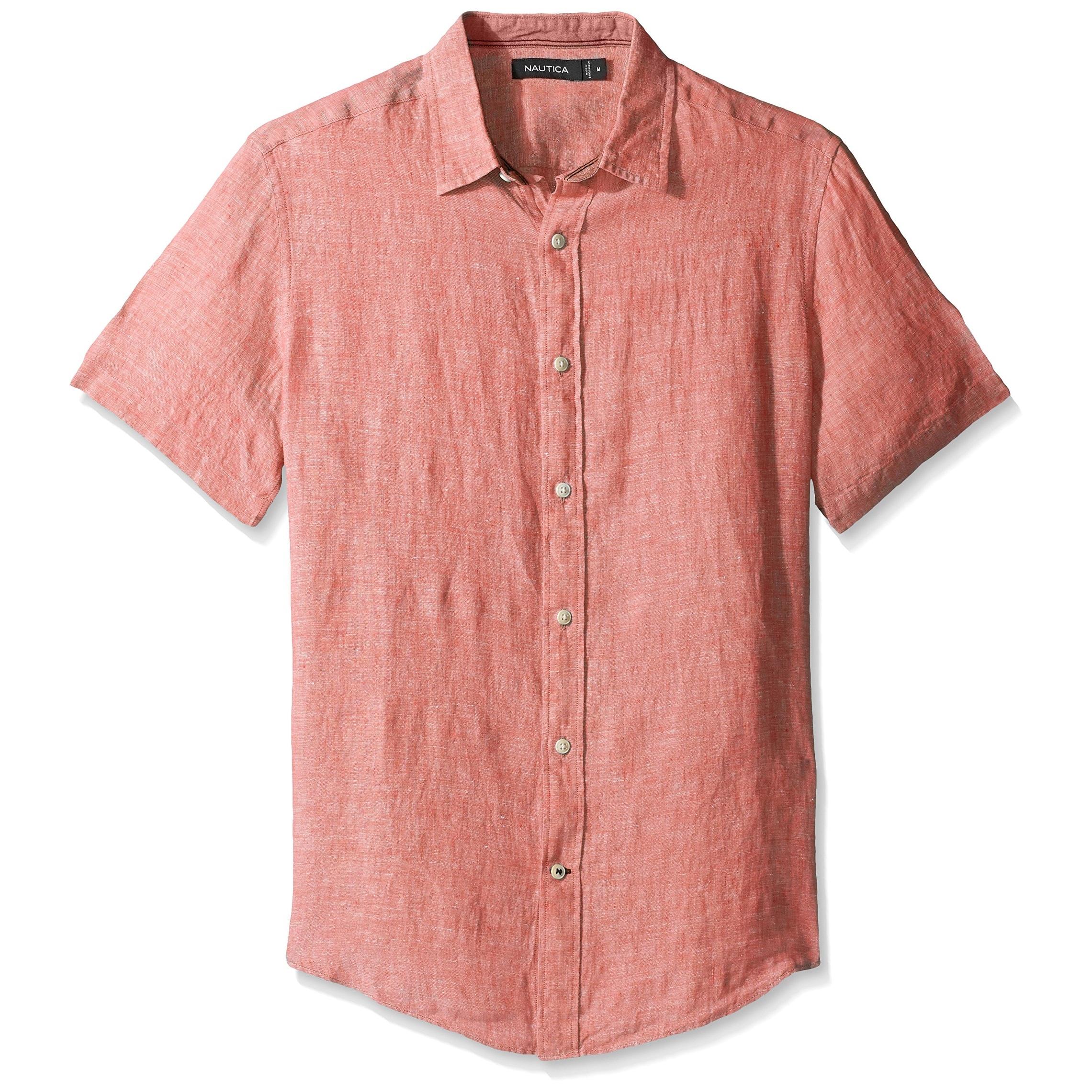 Shop Nautica New Pale Coral Pink Mens Size Medium M Button Down