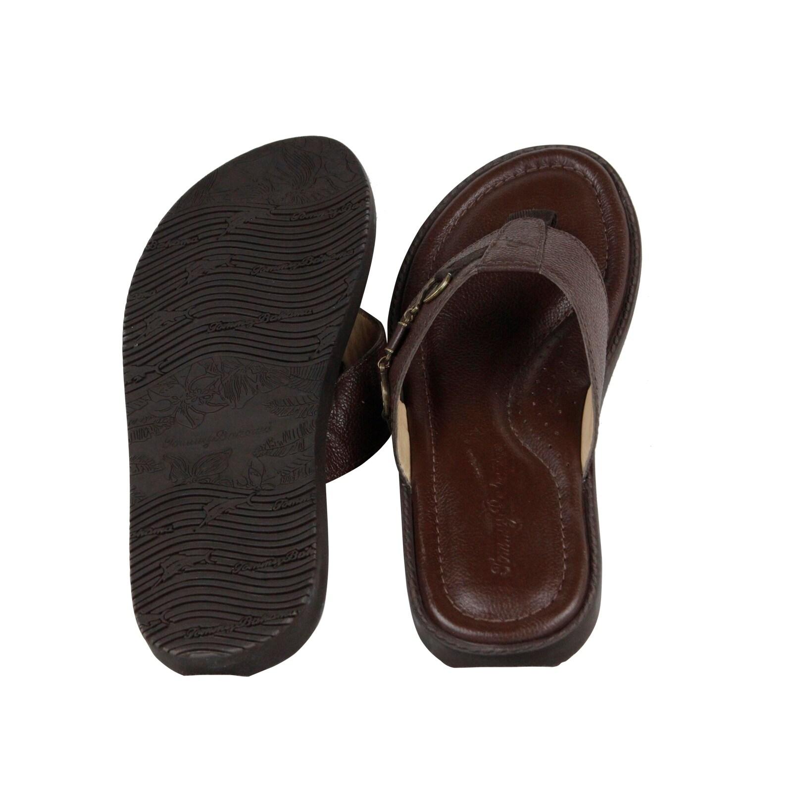 f3fb303504ee1 Shop Tommy Bahama Belize Vintage Mens Brown Leather Flip Flops Sandals Shoes  - Free Shipping Today - Overstock - 23093727