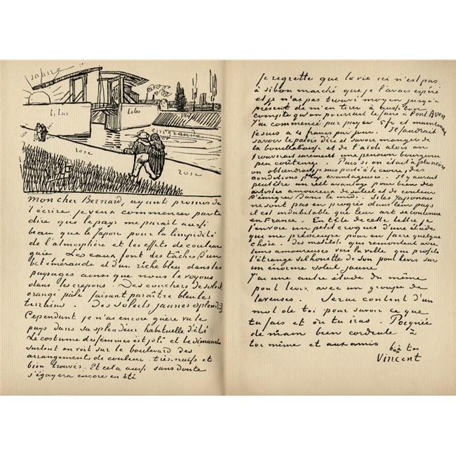 Facsimilie Of Letter From Vincent Van Gogh To Emile Bernard Arles