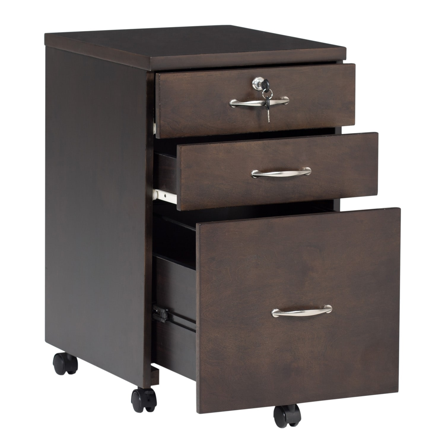 Offex Newel Mobile 3 Drawer Wood Filing Cabinet With Lock   Java