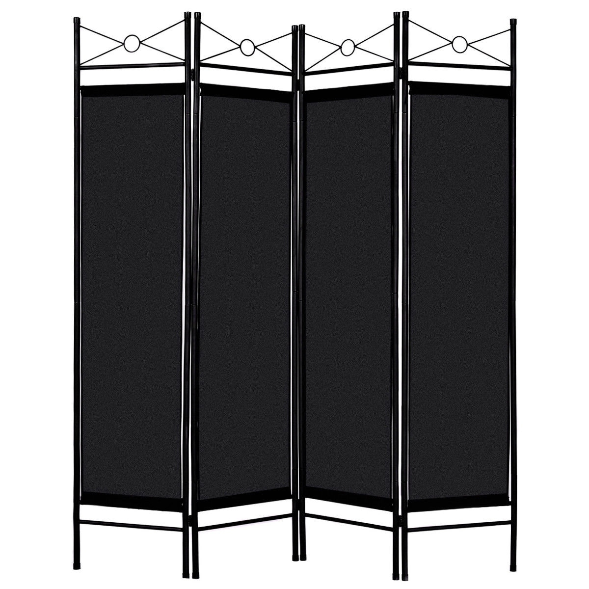 Shop Costway Black 4 Panel Room Divider Privacy Screen Home Office ...