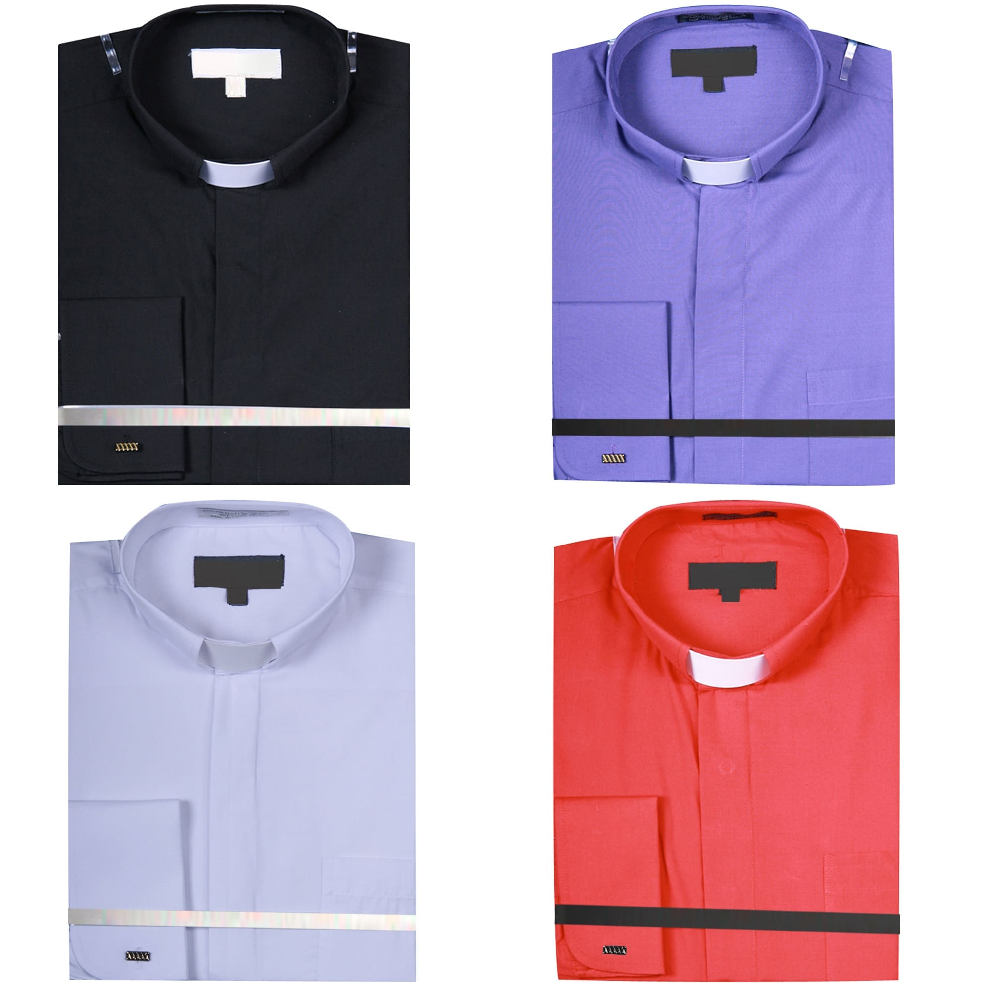 Shop Mens Solid Color Tab Collar Clergy Shirt Free Shipping On