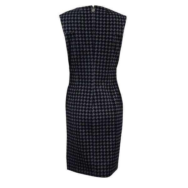 7f18b546aa7 Shop Tommy Hilfiger Women's Flocked Houndstooth Sheath Dress -  Charcoal/Black - On Sale - Free Shipping Today - Overstock - 18312670