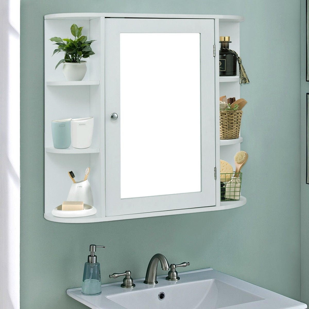 Shop Costway Multipurpose Mount Wall Surface Bathroom Storage ...