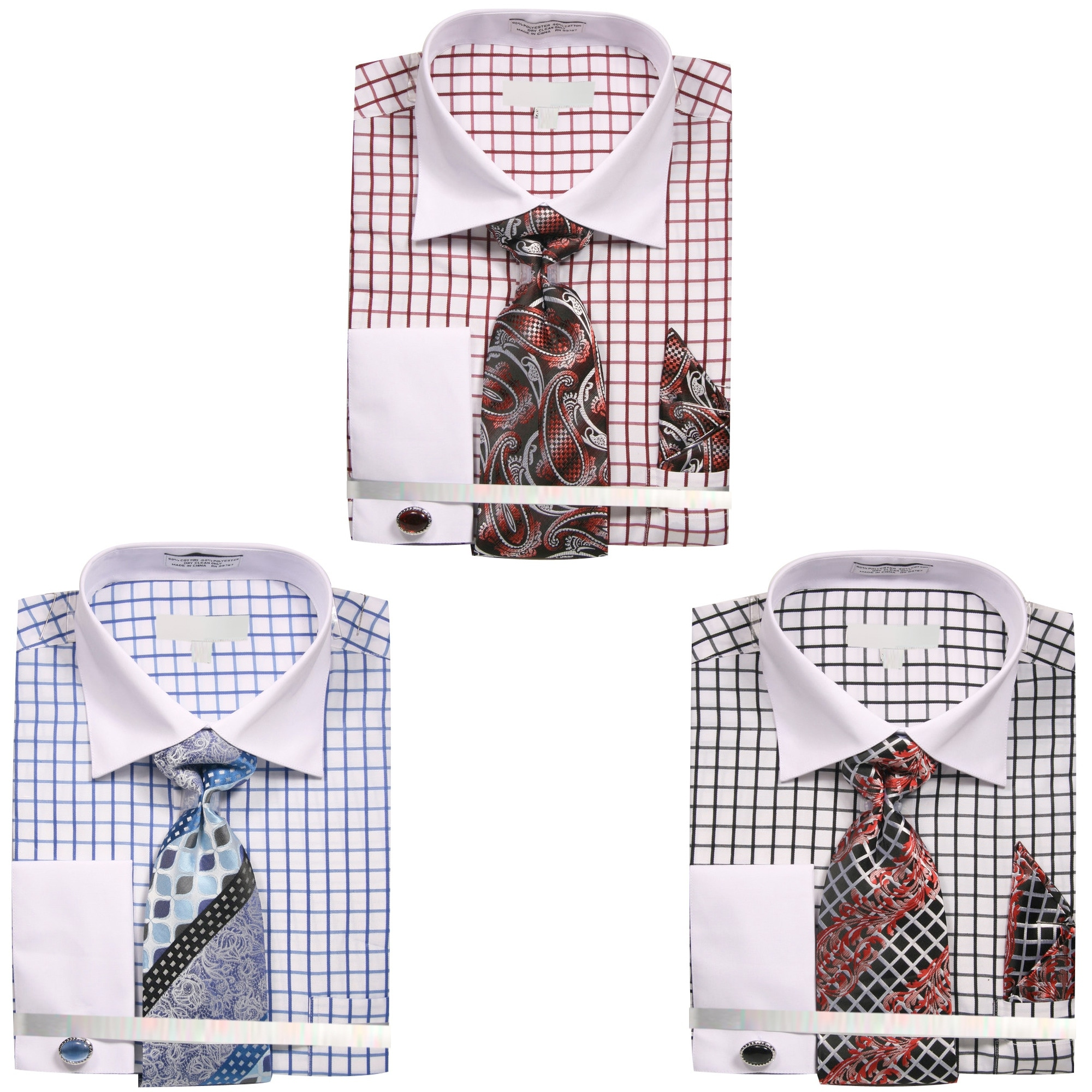 Shop Mens Square Pattern White Collar And Cuffs Dress Shirt With
