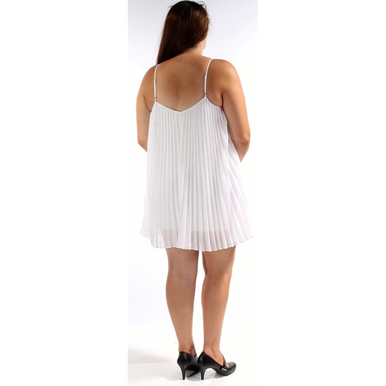 9cf89ade61b Shop GUESS Womens Ivory Spaghetti Strap V Neck Above The Knee Knife Pleated  Evening Dress Size: XL - Free Shipping On Orders Over $45 - Overstock -  21308143