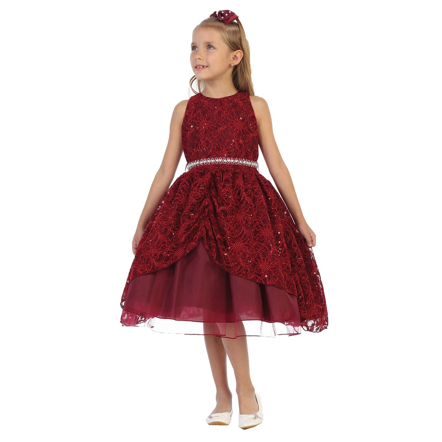 36078c10c416 Shop Chic Baby Girls Burgundy Lace Sequins Pearl Christmas Dress ...