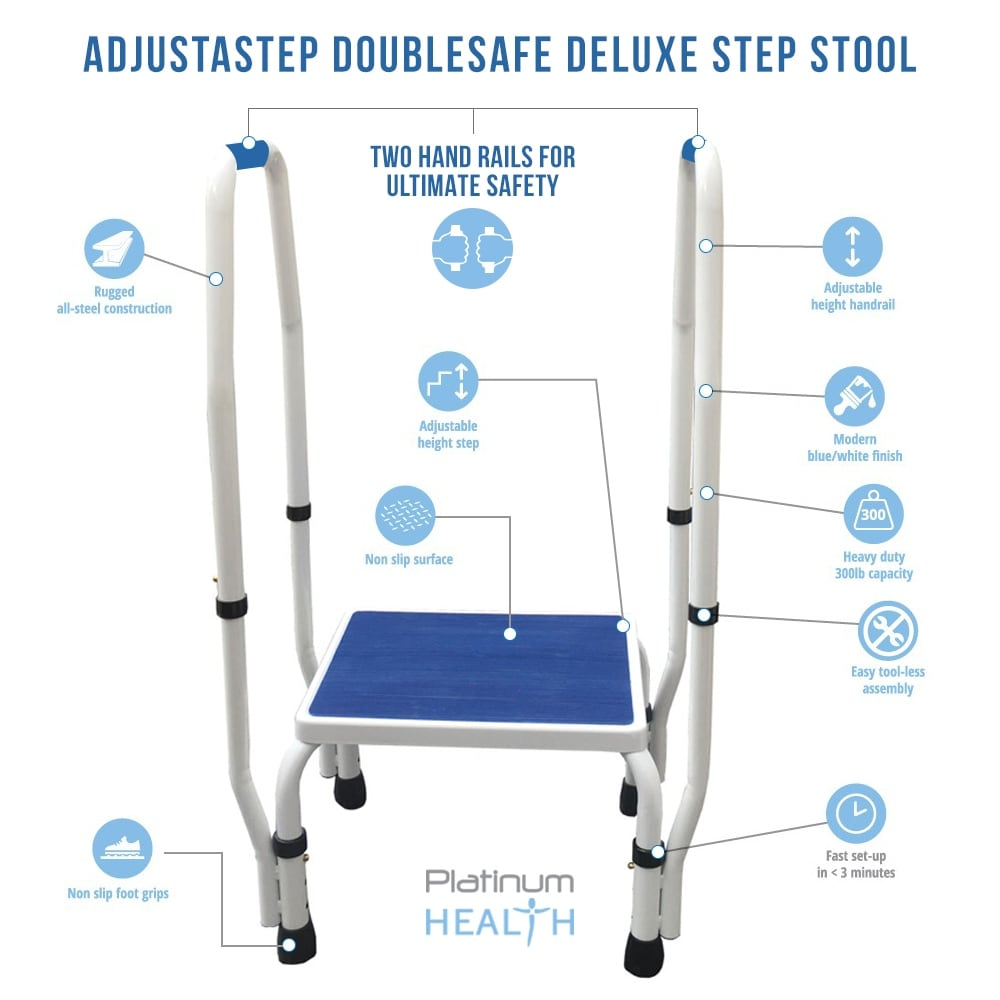 Shop AdjustaStep (tm) 2 In 1 DoubleSafe Deluxe Step Stool / Footstool With  Dual Handle / Handrail Height Adjustable   Free Shipping Today    Overstock.com   ...
