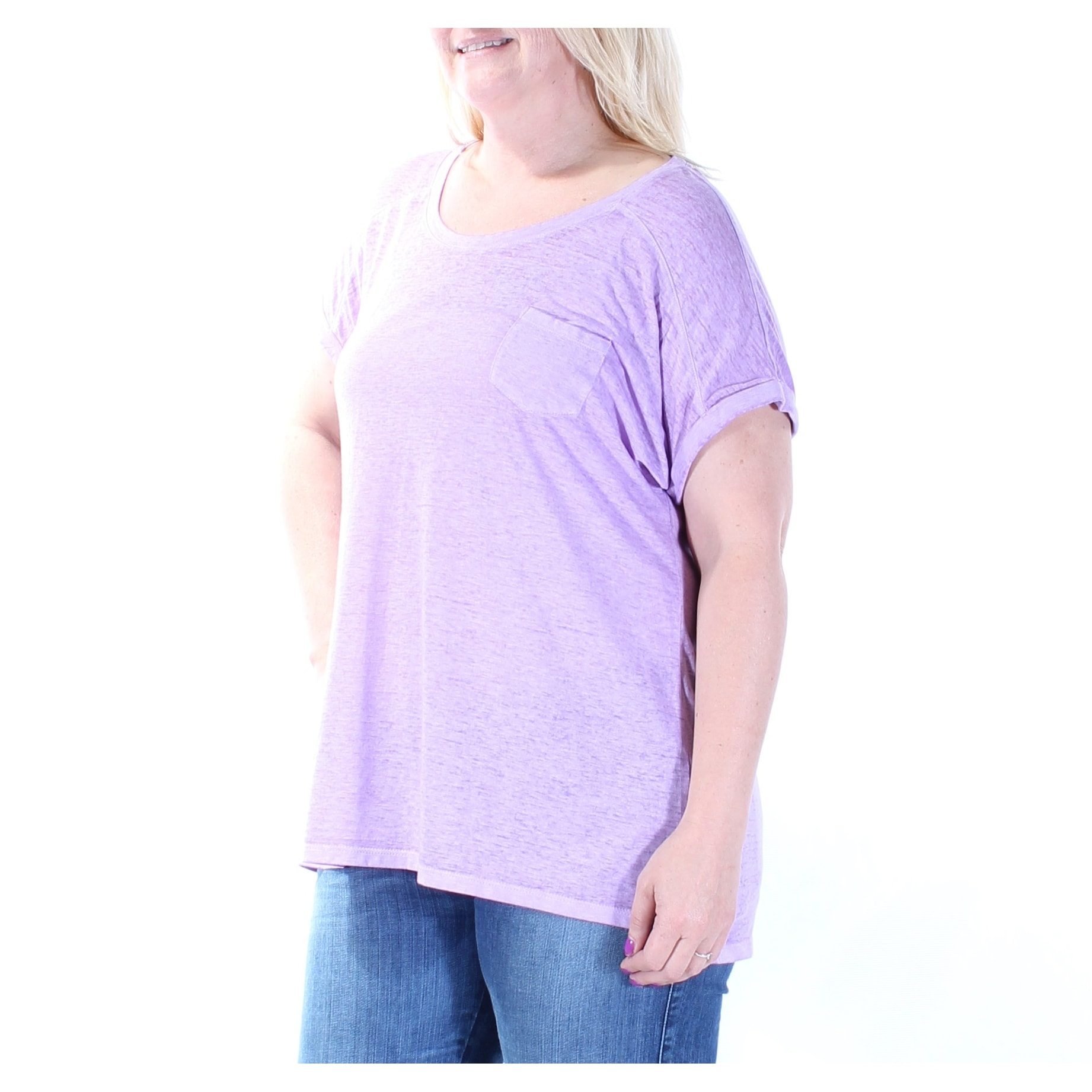40e3ff90495 Shop STYLE   CO Womens Purple Pocketed Short Sleeve Scoop Neck T-Shirt Top  Size  L - Free Shipping On Orders Over  45 - Overstock - 21273229