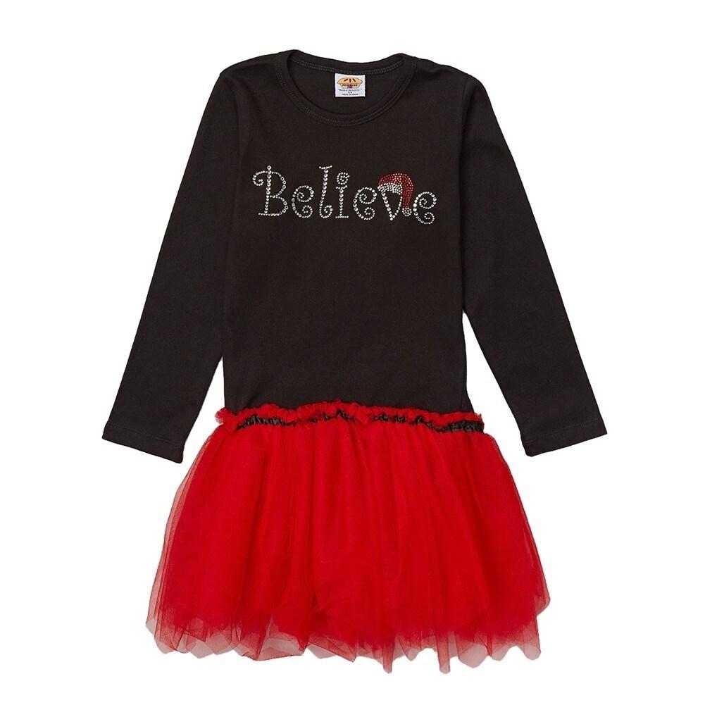 cbe73cd83 Shop Little Girls Black Red Believe Rhinestuds Christmas Tutu Dress 2T-6X - Free  Shipping Today - Overstock - 18163677