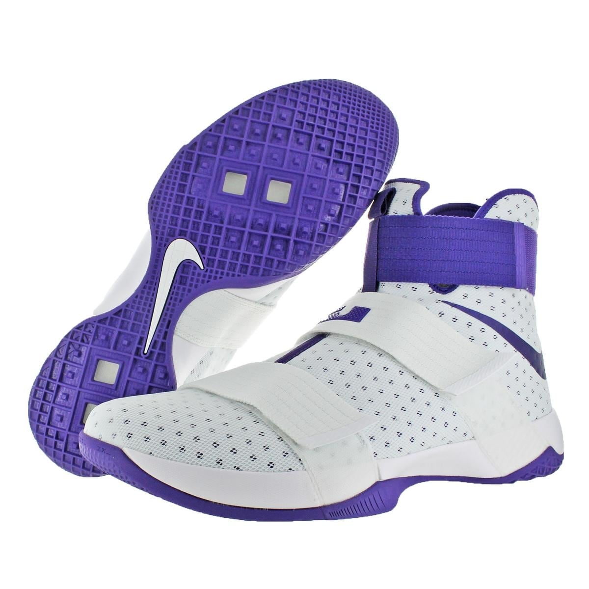 aaa44f80348e Shop Nike LeBron Soldier 10 Men s Mesh High-Top Basketball Shoes White Size  18 - 18 medium (d) - Free Shipping Today - Overstock - 22132820