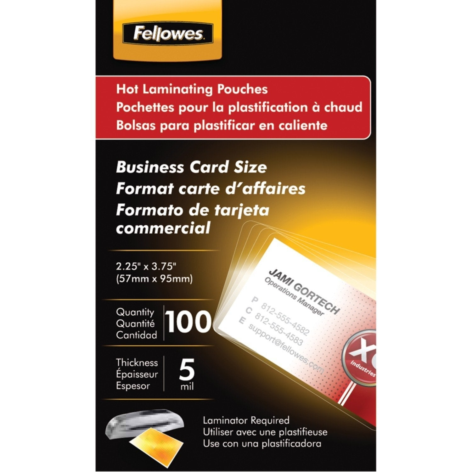 Fellowes Pretrimmed Glossy Lam. Bus. Card Pouches-Laminating Pouches ...