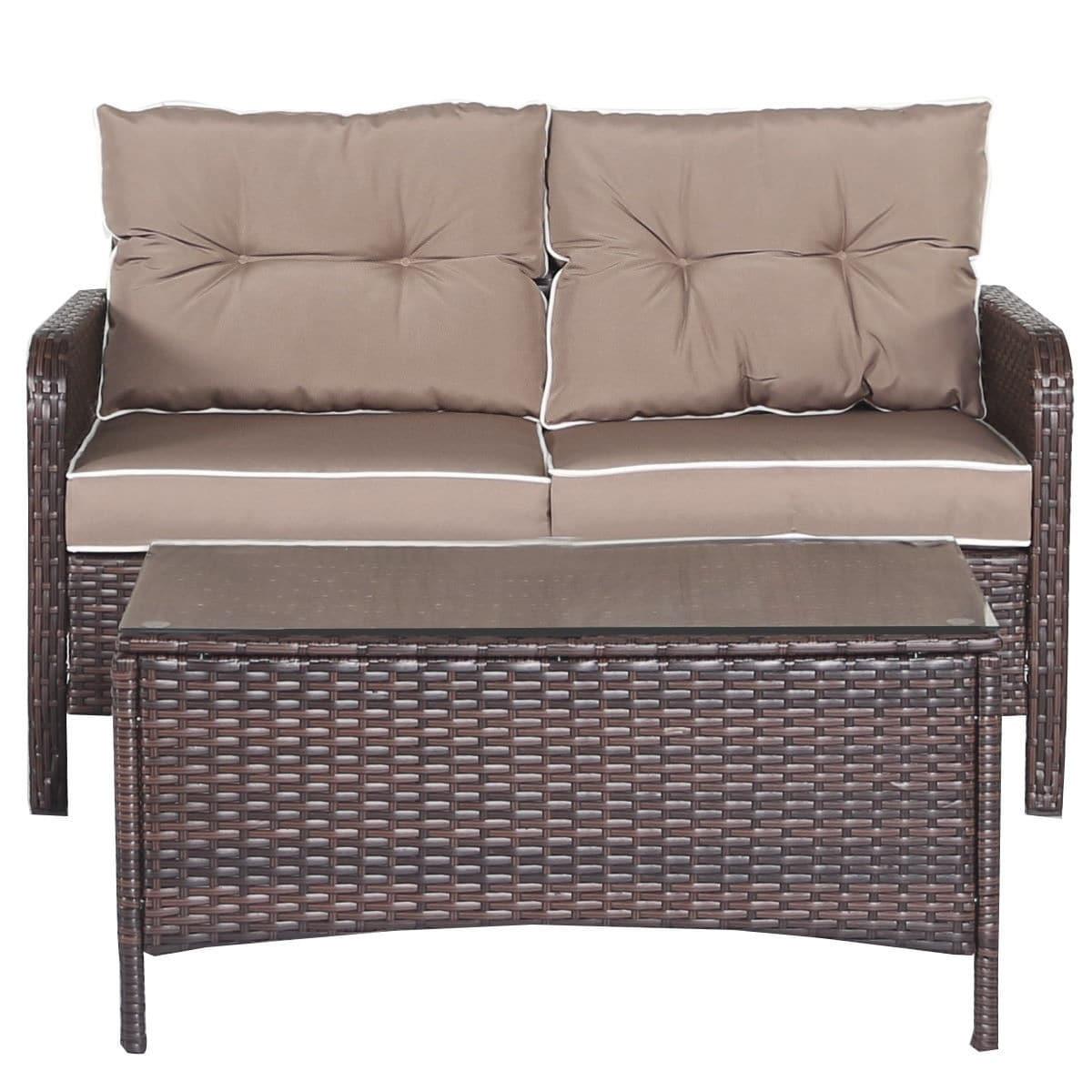 Shop Costway 4 Pcs Outdoor Patio Rattan Wicker Furniture Set Sofa