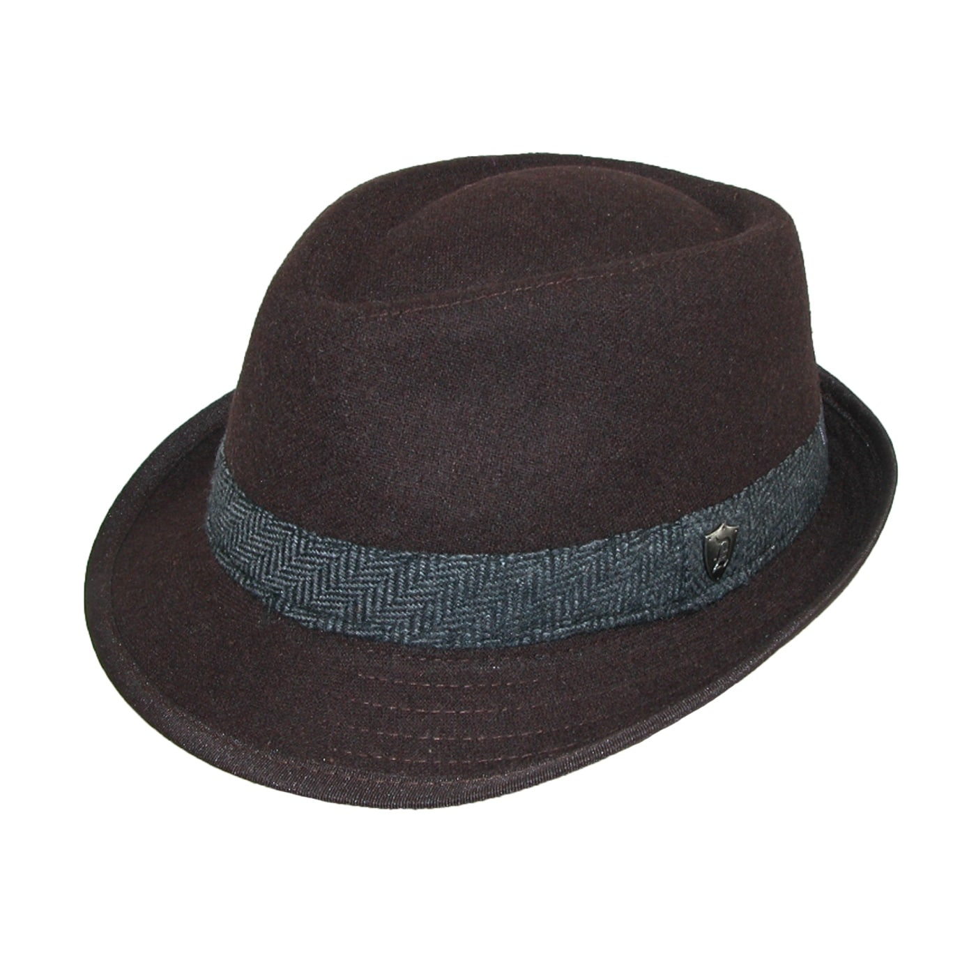 8aaef48aad4 Shop Dorfman Pacific Men's Wool Blend Fedora Hat with Herringbone Band -  Free Shipping On Orders Over $45 - Overstock - 14254960