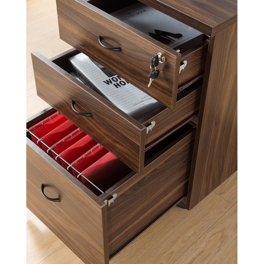Wooden File Cabinet With Three Drawers Dark Brown Free Shipping Today 24232488