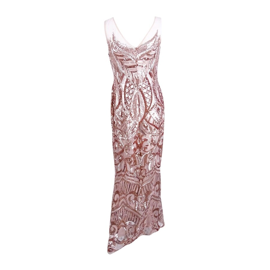 Adrianna Papell Women\'s Petite Sequined Illusion Gown - rose gold ...