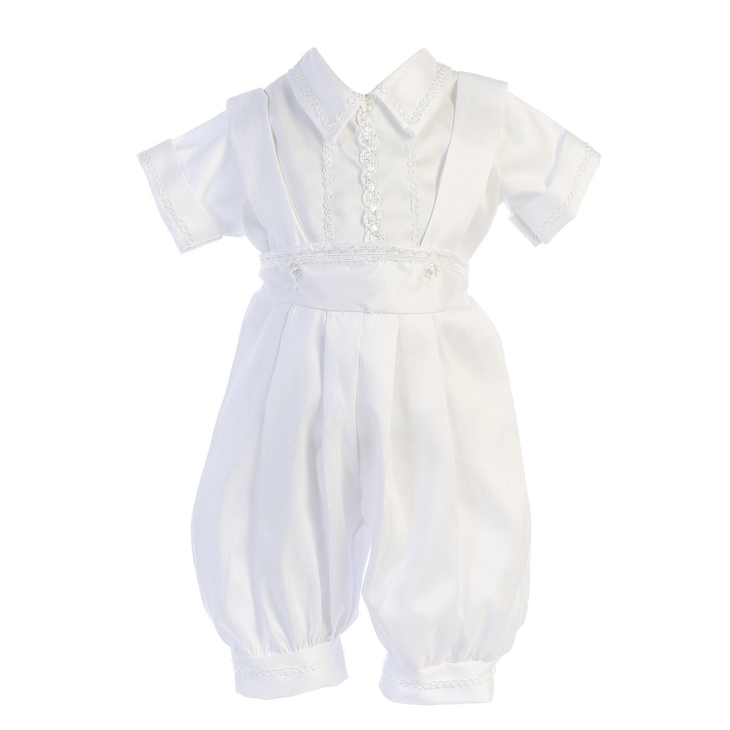 63785c817 Shop Angels Garment Baby Boys White Shantung Stole Cap Romper Baptism  Outfit - Free Shipping Today - Overstock - 26458367