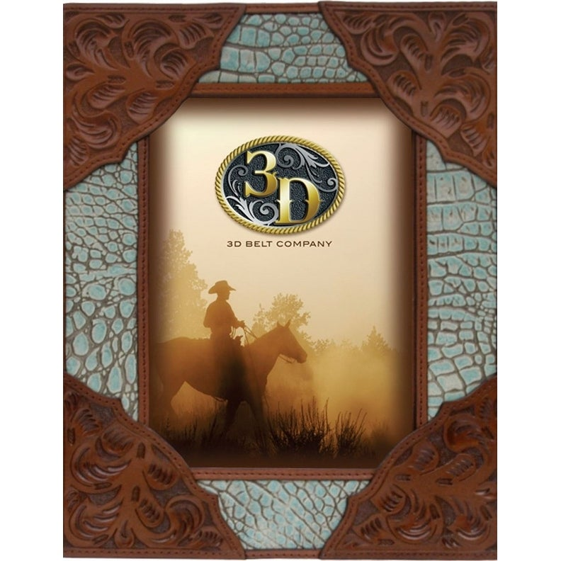 Shop 3D Western Frame Photo Gator Floral 5 x 7 Brown Turquoise - 5 x ...
