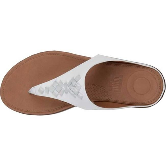 6d35ddc3fad4 Shop FitFlop Women s Banda II Toe Thong Sandal Urban White Leather Crystal  - Free Shipping Today - Overstock - 21358773