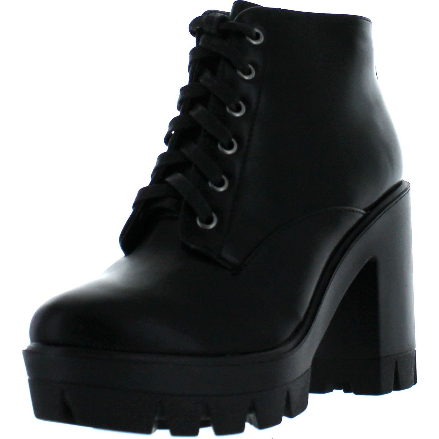 be59a4ede43d Bamboo Jonas-02 Women Lace Up Chunky Heel Lug Sole Platform Combat Ankle  Bootie