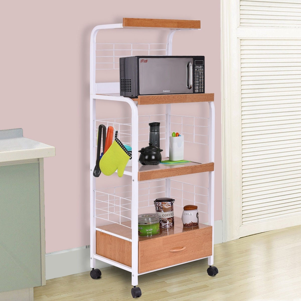 Shop costway 62 bakers rack microwave stand rolling kitchen storage cart w electric outlet free shipping today overstock com 16315093