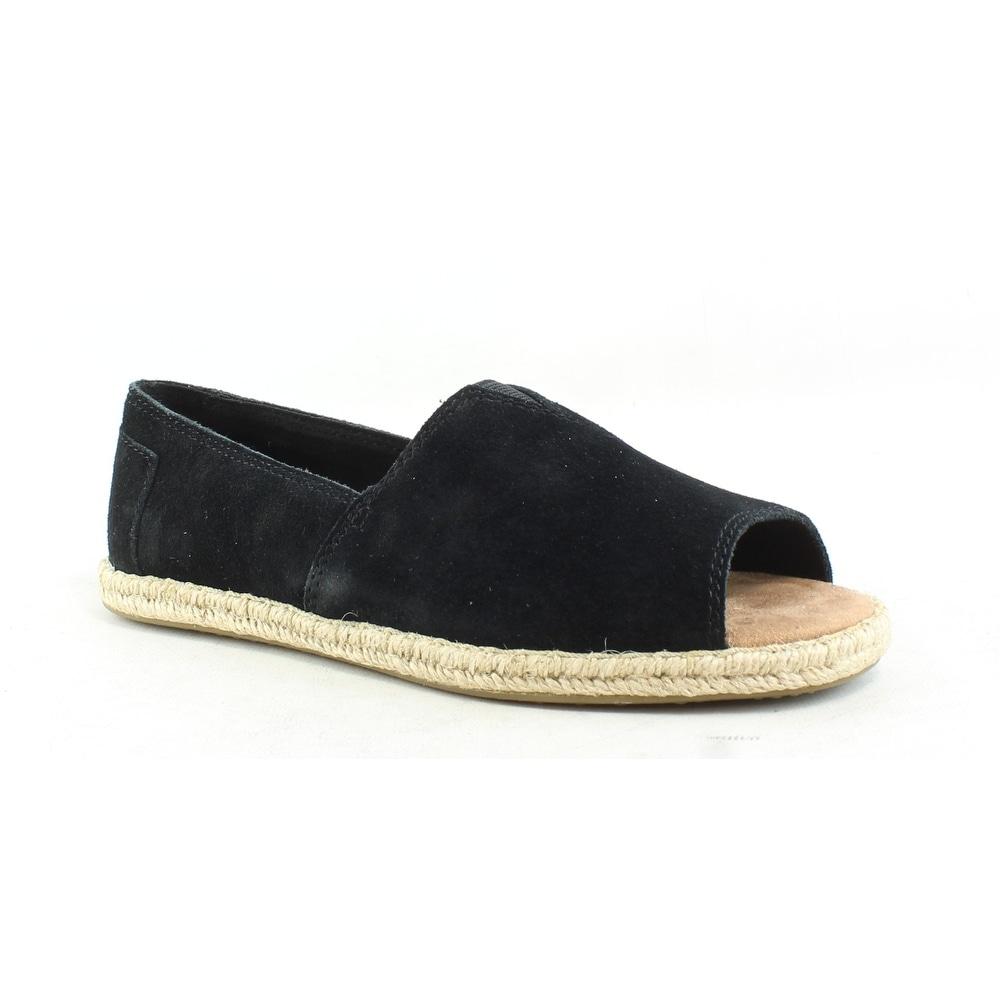 533d49c79 Shop TOMS Womens Open Toe Alpargatas Black Espadrilles Size 5.5 - On ...