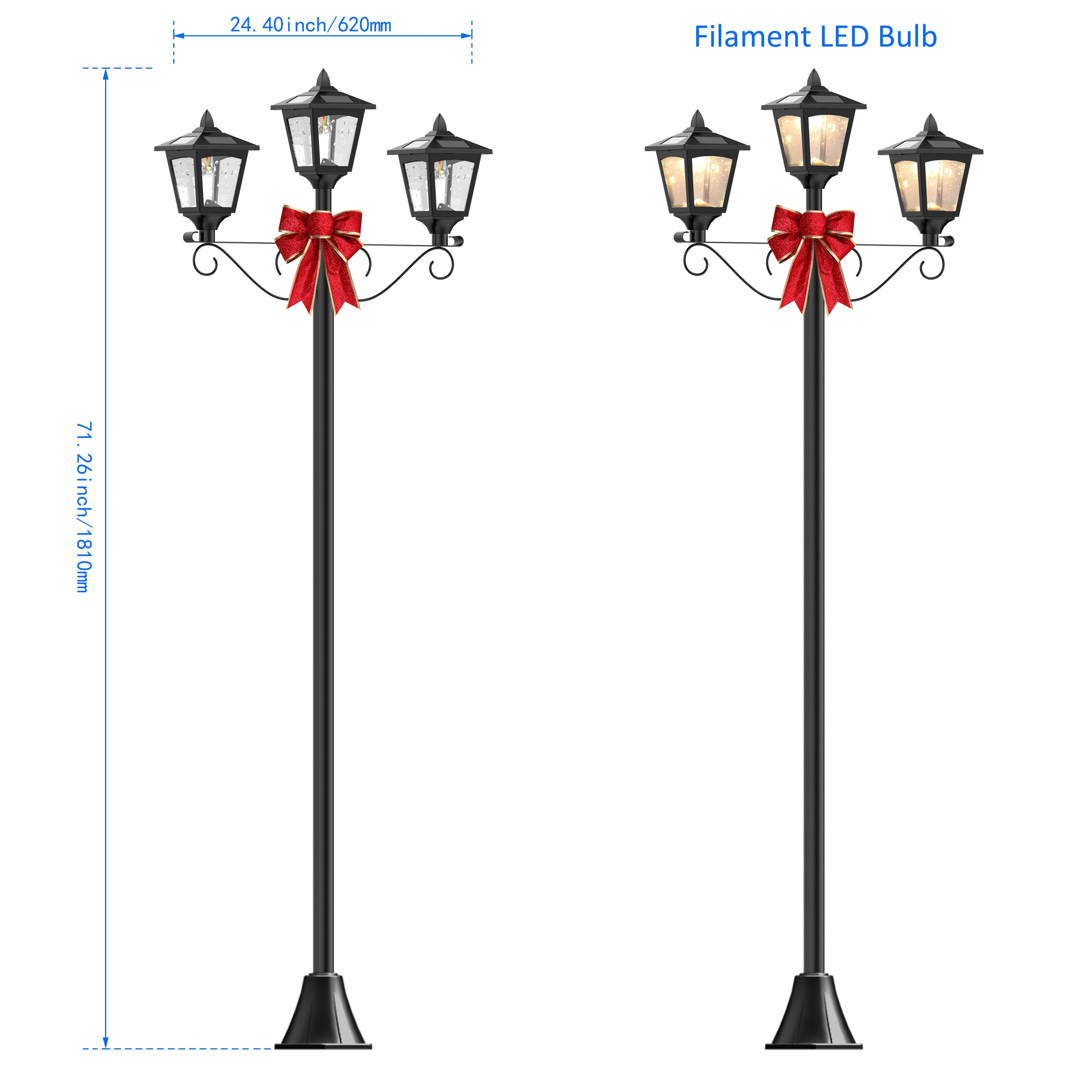 Shop kanstar 72 triple head street vintage outdoor garden post shop kanstar 72 triple head street vintage outdoor garden post solar lamp post light lawn adjustable free shipping today overstock 19741411 aloadofball Image collections