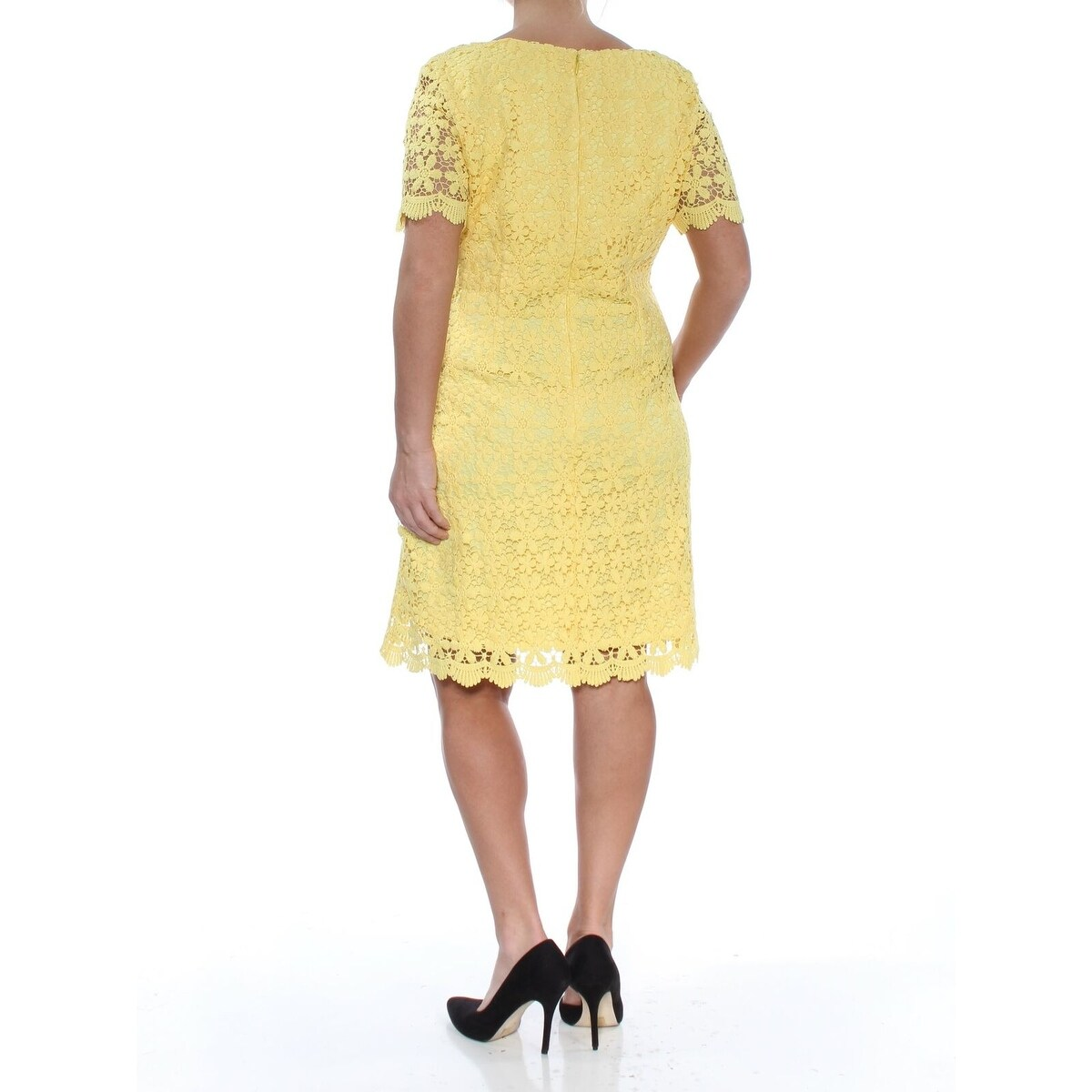 8efbd05fbe5e Shop Jessica Howard Yellow Women's Size 12 Floral Lace Sheath Dress - Free  Shipping On Orders Over $45 - Overstock - 27466930