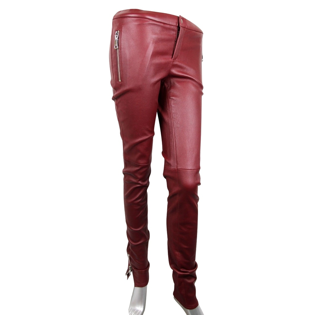 3abaf1e9a92 Gucci Women s Leggings Stretch Burgundy Lamb Leather Pant 356036 6218 (38)  - 38