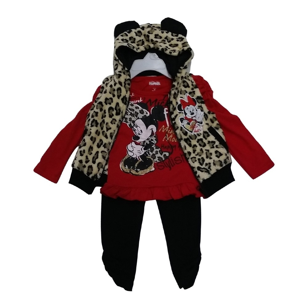 21d48588611b Shop American Character Little Girls Red Minnie Print Top Vest 3 Pc ...
