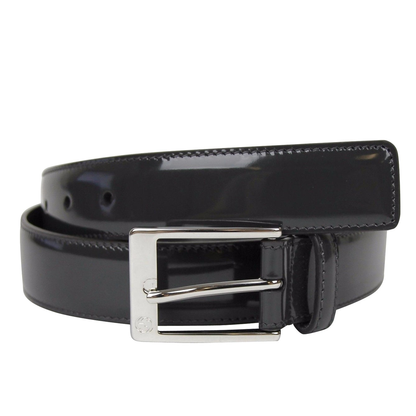028a18e7d Gucci Men's Square Dark Gray Patent Leather Belt with GG Detail Buckle  345658 1107