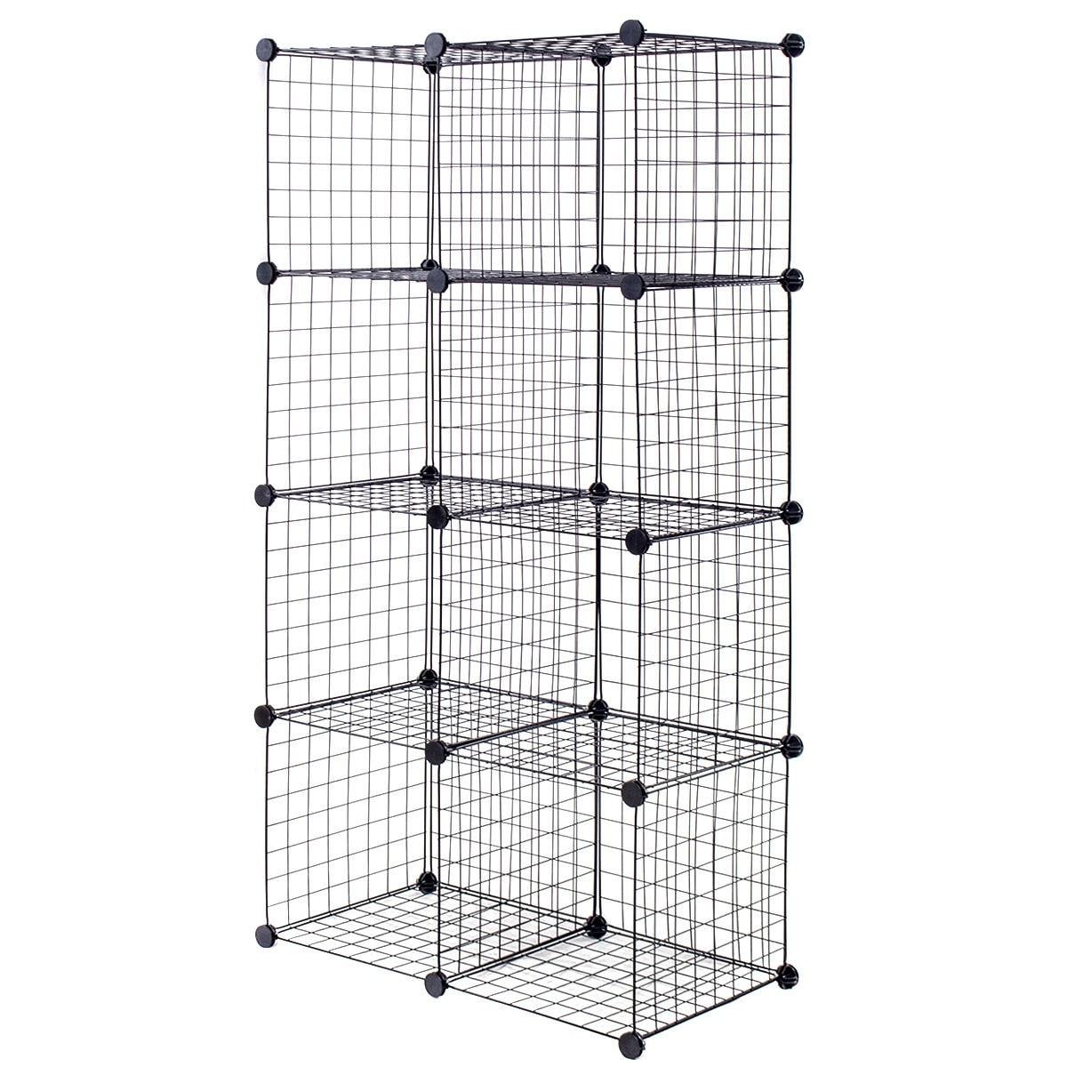 Shop Costway 8 Cube Grid Wire Organizer Wardrobe Shelves Bookcase ...