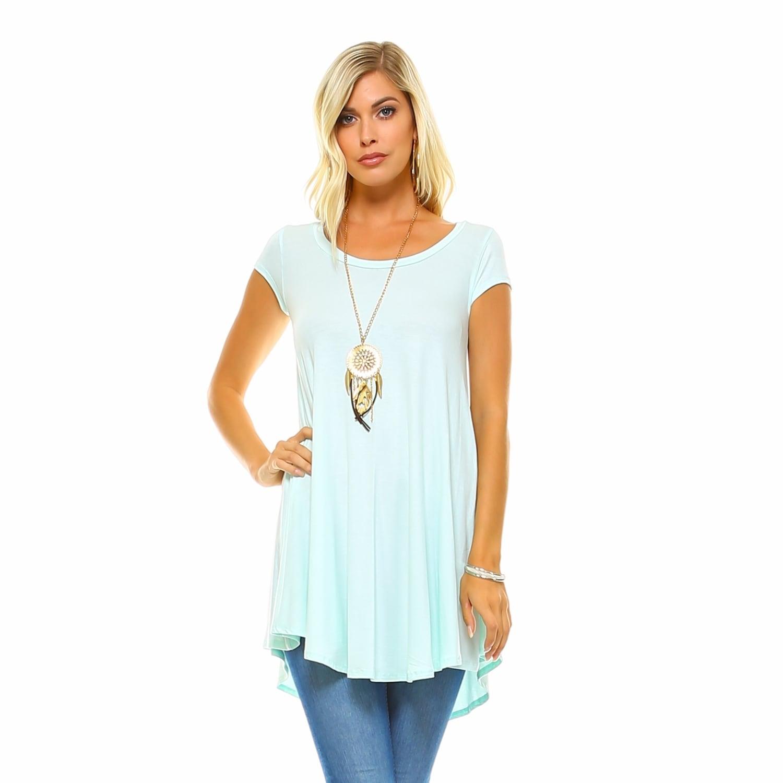 d3a1a6ecd97078 Shop Isaac Liev Women s Flowy V-Neck Short Sleeve Tunic Top - Free ...