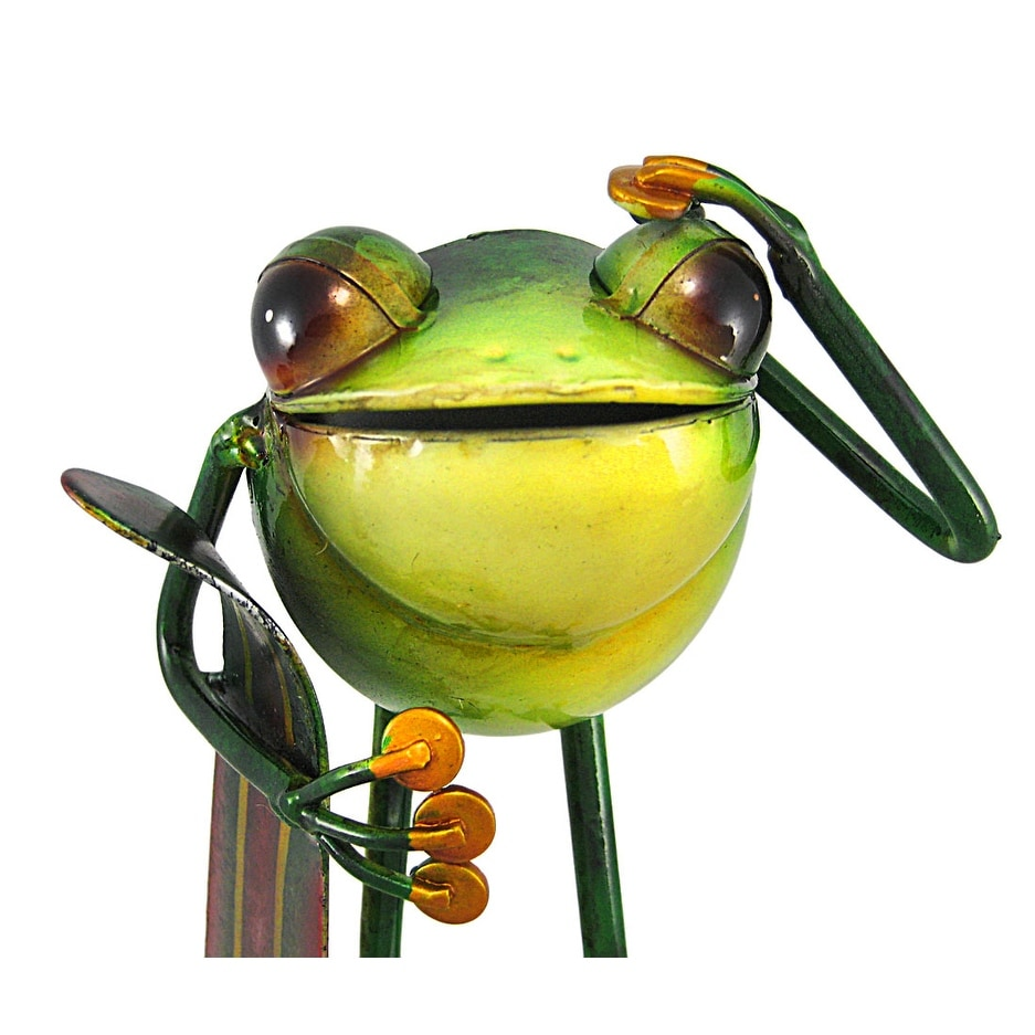 Incredibly Cute Surfer Tree Frog Metal Statue Surfing - Multicolored ...