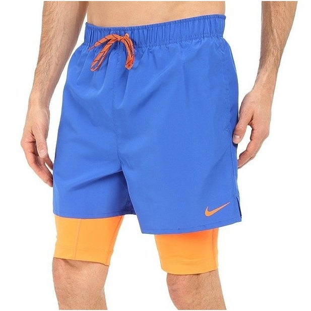 f5146d2bf4301 Shop Nike NEW Cobalt Blue Orange Men Size Large L 2-In-1 Training Swim  Trunks - Free Shipping On Orders Over $45 - Overstock - 19625338