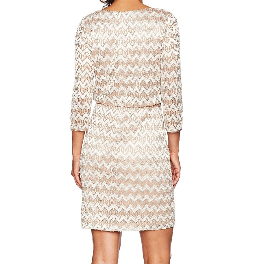 02973ff4453d Shop Jessica Howard Gold Womens Size 10P Petite Chevron Sheath Dress - Free  Shipping On Orders Over $45 - Overstock - 21467060