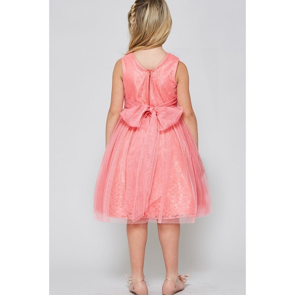 Shop Good Girl Girls Coral Lace Surplice V-Neck Junior Bridesmaid ...