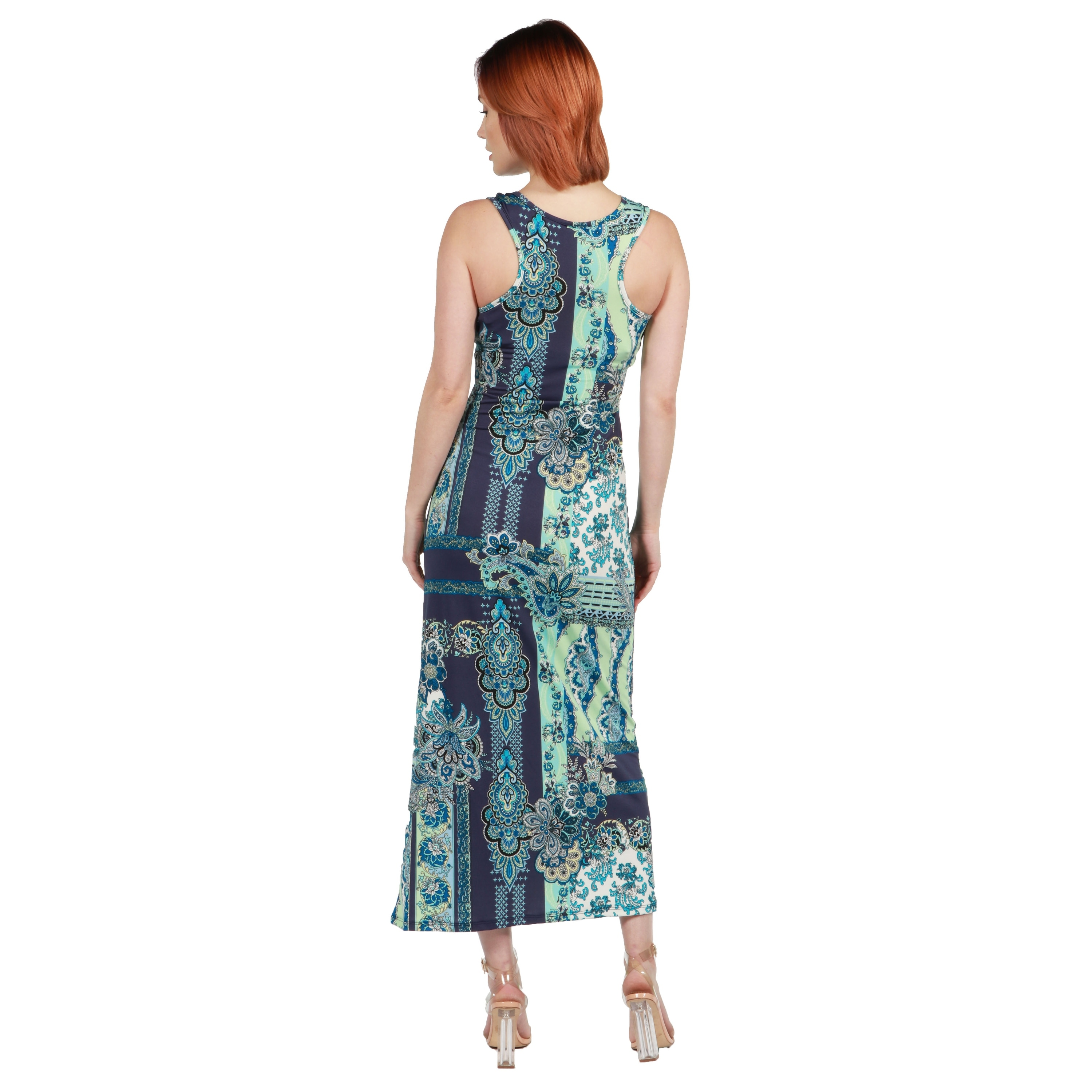 7f5fdee6953 Shop 24seven Comfort Apparel Renee Blue and Green Long Dress - Free  Shipping On Orders Over  45 - Overstock.com - 20709986