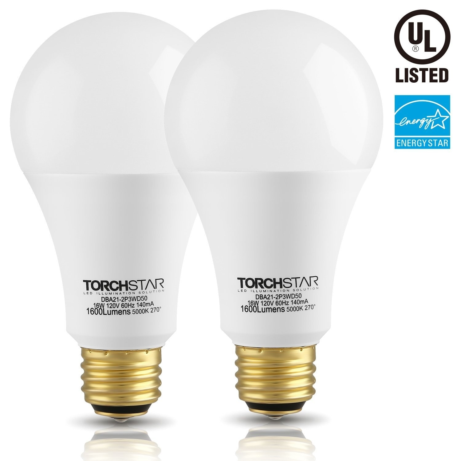 Shop TORCHSTAR 2 PACK 3-Way LED A21 Light Bulb ENERGY STAR UL-listed - Free Shipping On Orders Over $45 - Overstock - 14174783
