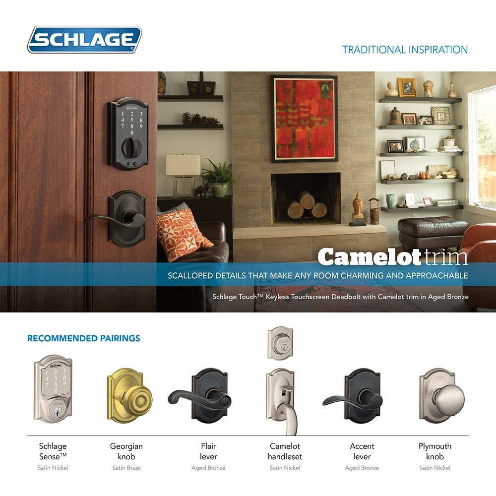 6fc25993dda Shop Schlage FE595-CAM-GEO Camelot Keypad Entry with Flex-Lock Door Knob  Set with Georgian Interior Knob - Free Shipping Today - Overstock - 16082769