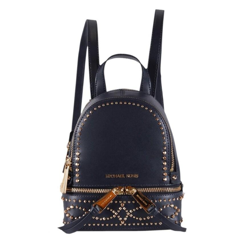 020413c56c40 Shop Michael Kors Dark Blue Leather Embellished RHEA MINI XS Backpack Bag -  6.25