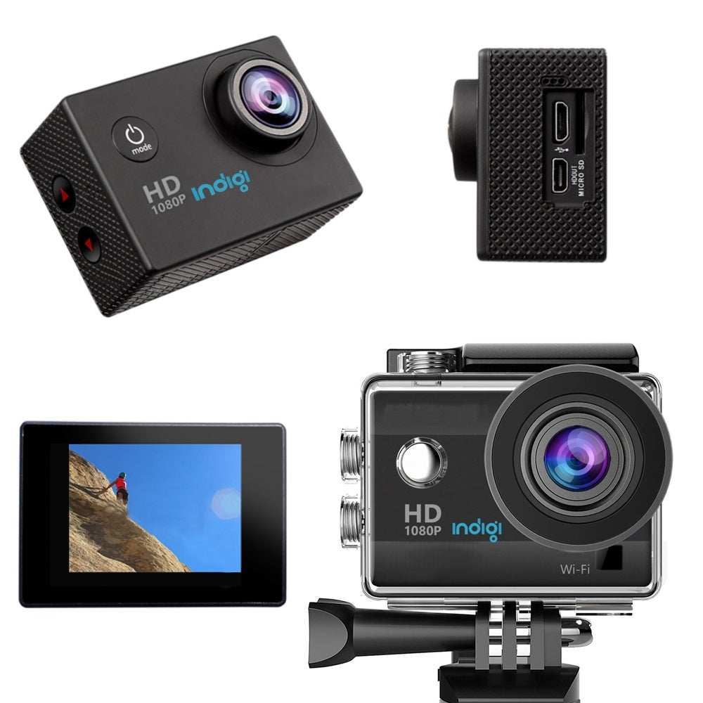 "Indigi NEW 4K Waterproof Action Sports CAM DVR, Wide Angle Lens - 1.5"" LCD, Mounts Included - WiFi Enabled to iOS & Android"
