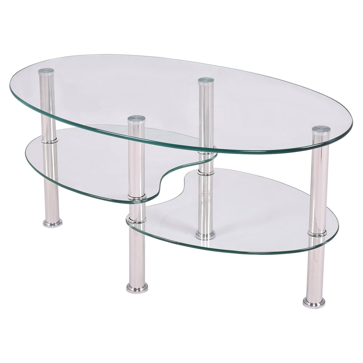 Shop Costway Tempered Glass Oval Side Coffee Table Shelf Chrome Base Living  Room Clear   Free Shipping Today   Overstock.com   17800788