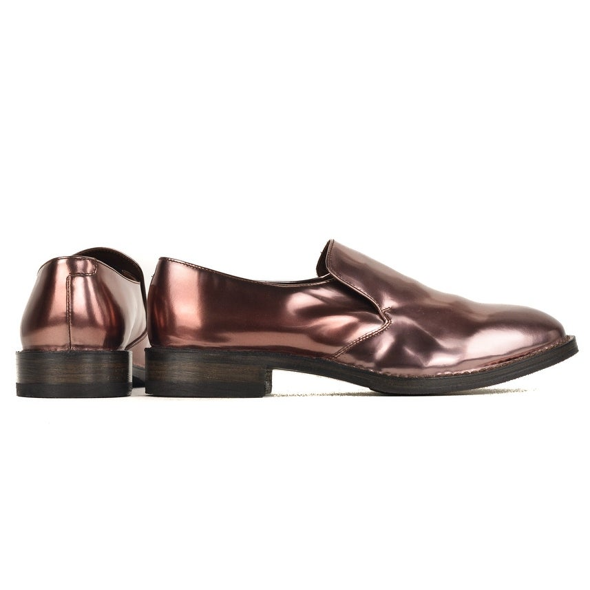 a3c94878701 Shop Brunello Cucinelli Womens Patent Metallic Burgundy Loafers RTL ...