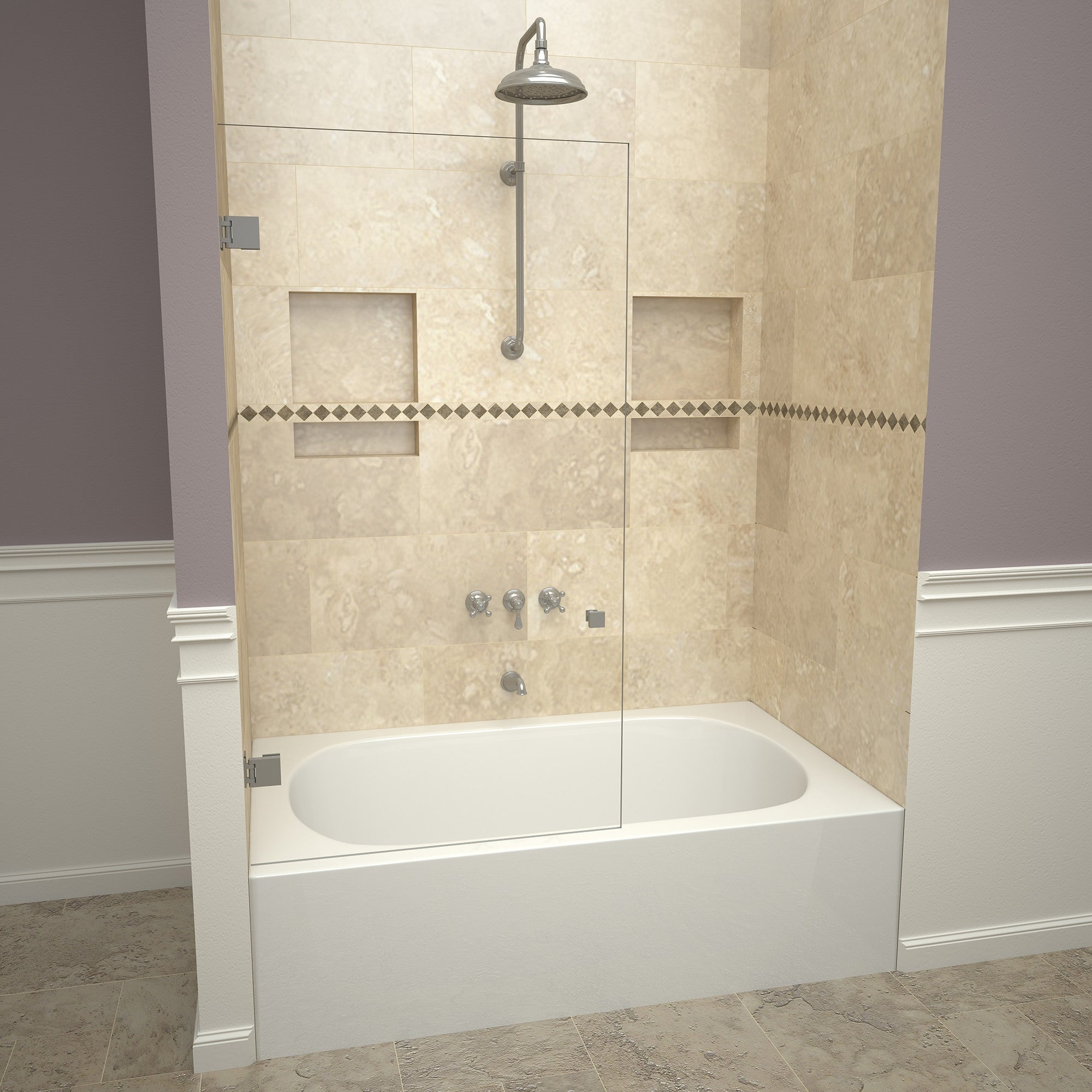 Tile Redi 23vcns03060 Redi Screen 60 High X 30 Wide Hinged Frameless Tub Door