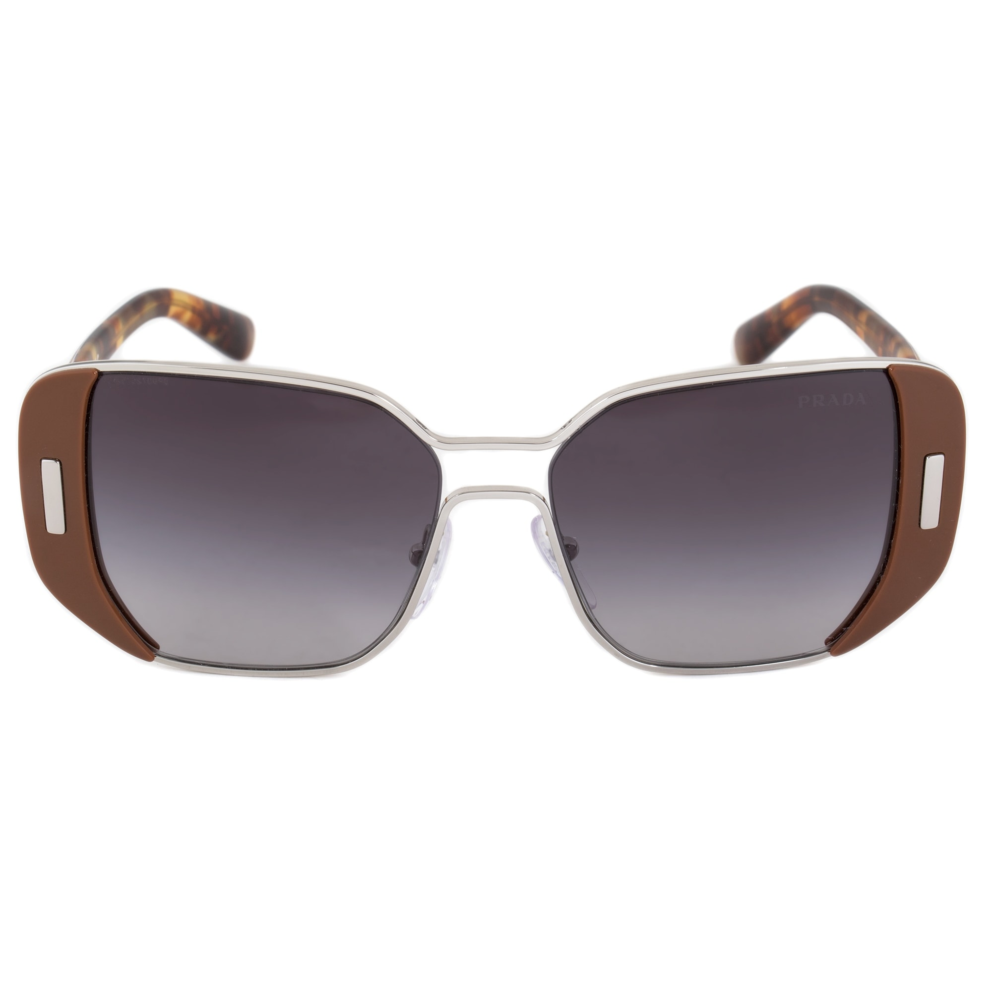 670458295f29 Prada Square Sunglasses PR59SS USA5D1 54 | Silver and Brown Frame | Gray  Gradient Lenses