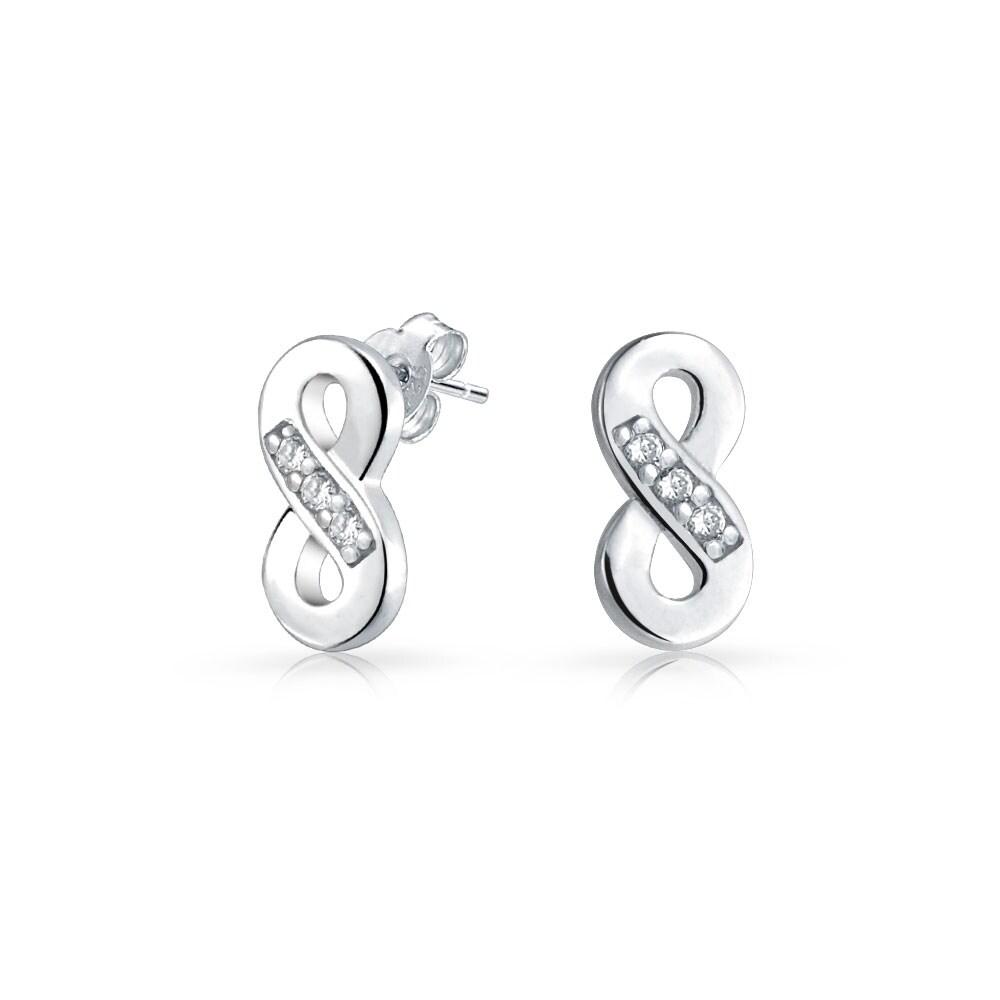 Sterling Silver Infinity Half Cubic Zirconia Stud Earrings aqP4hA